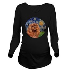 J-ORN-Starry-RubyCav Long Sleeve Maternity T-Shirt