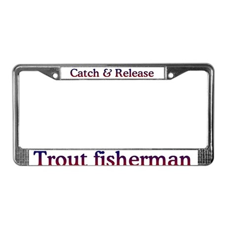 Trout fishing license plate frame by bassfish for Fishing license plate