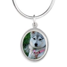 Alaskan Klee Kai Puppy Silver Oval Necklace