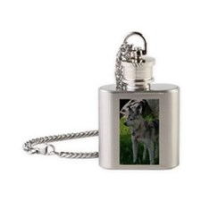 Alaskan Klee Kai looking into the d Flask Necklace