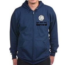 Volleyball Served Black Zip Hoodie