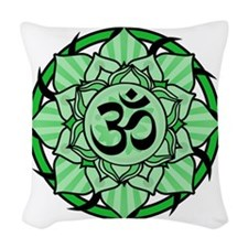 aum-green Woven Throw Pillow