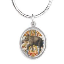 elephantpendantinprog Silver Oval Necklace