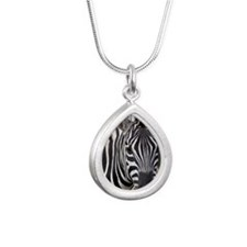 single zebra card Silver Teardrop Necklace