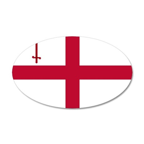 ST English Flag - City of Lo 35x21 Oval Wall Decal