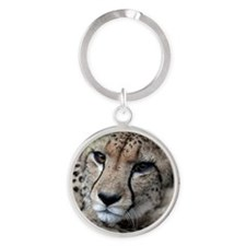 mom cheetah panel Round Keychain