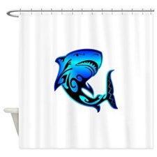 blk_wild_azz_shark_02 Shower Curtain