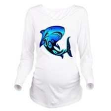 blk_wild_azz_shark_0 Long Sleeve Maternity T-Shirt