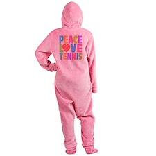 Peace Love Tennis Footed Pajamas