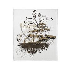 Bonsai Tree - Brown on Dark Throw Blanket