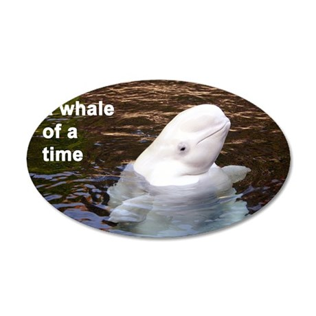 Whale card 35x21 Oval Wall Decal
