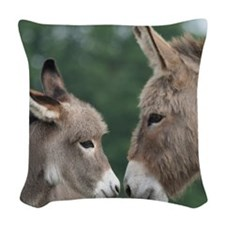Donkey clock Woven Throw Pillow
