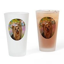 J-ORN-Garden-Yorkie7 Drinking Glass