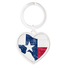 Texas Flag Map Heart Keychain