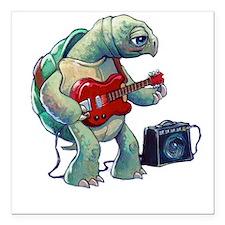"Turtle Tuning Guitar Square Car Magnet 3"" x 3"""