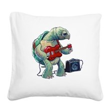 Turtle Tuning Guitar Square Canvas Pillow