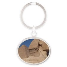 EgyptionSfinxAndPyramid Oval Keychain