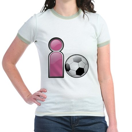 I play Soccer - Pink Jr. Ringer T-Shirt