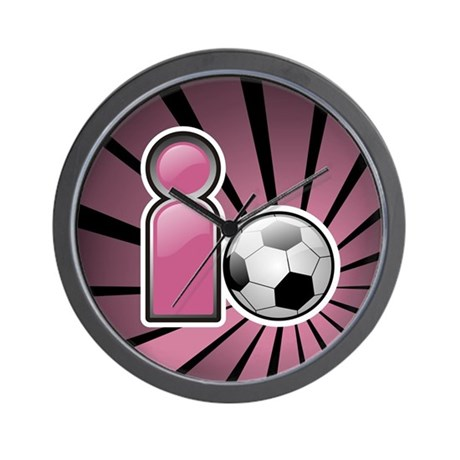 I play Soccer - Pink Wall Clock