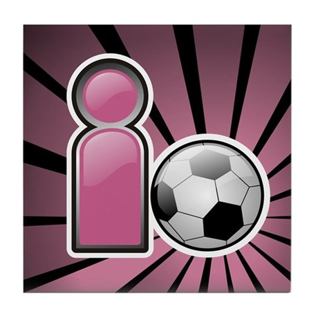 I play Soccer - Pink Tile Coaster