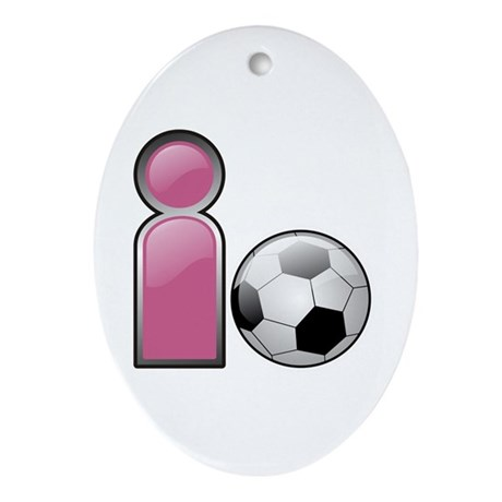I play Soccer - Pink Oval Ornament