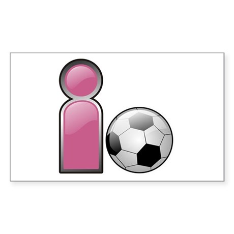 I play Soccer - Pink Rectangle Sticker