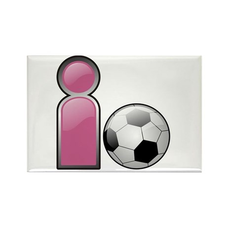 I play Soccer - Pink Rectangle Magnet