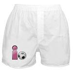 I play Soccer - Pink Boxer Shorts