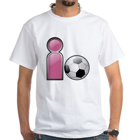 I play Soccer - Pink White T-Shirt