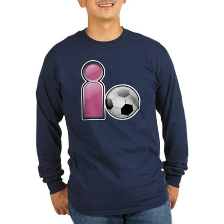 I play Soccer - Pink Long Sleeve Dark T-Shirt