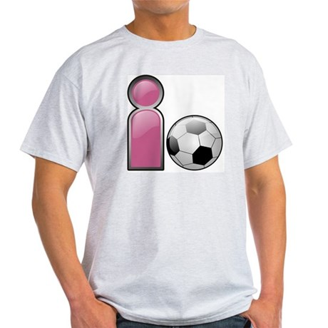 I play Soccer - Pink Ash Grey T-Shirt