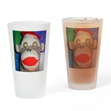Sock monkey with pearl gold eyes. Drinking Glass