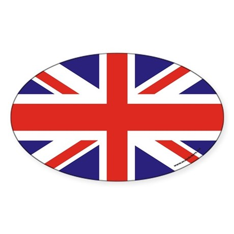 British Flag Euro Oval Sticker