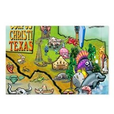 Corpus Christi TEXAS Map  Postcards (Package of 8)