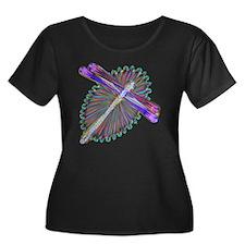 Dragonfl Women's Plus Size Dark Scoop Neck T-Shirt