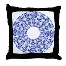 drawnwork blue Throw Pillow
