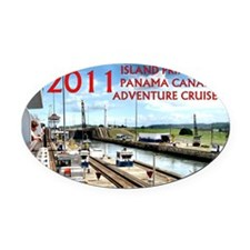 Panama Canal - rect. photo with bo Oval Car Magnet