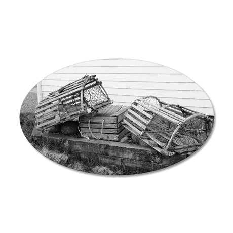 lobster traps2 35x21 Oval Wall Decal
