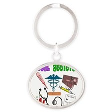 Medical assistant purple green Oval Keychain