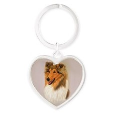 Rough Collie 2 jewel Heart Keychain