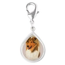 Rough Collie 2 jewel Silver Teardrop Charm