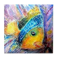 Tropical fish! Bright, art! Tile Coaster