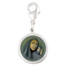 Madonna And Child Christmas Silver Round Charm