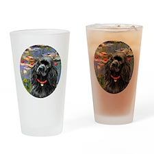 J-ORN-Lilies2-Cocker-black Drinking Glass
