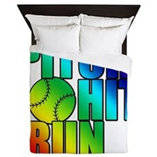 pitch hit and run Queen Duvet