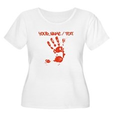 Red Hand Print Plus Size T-Shirt