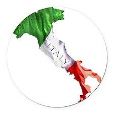 Italian Flag Map Round Car Magnet