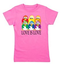 Love-Is-Love-Penguins-Stacked Girl's Tee