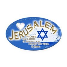 Jerusalem Oval Car Magnet