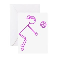 volleyball girl pink off center1.gif Greeting Card